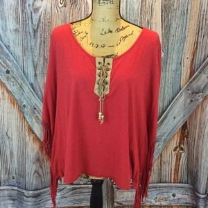 New Directions red lace neck 3/4 sleeve tee